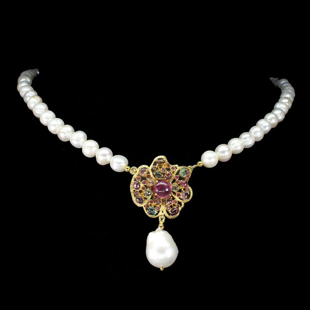 Round Red Ruby 7mm Pearl Tourmaline 925 Sterling Silver Necklace 19.5 Inches