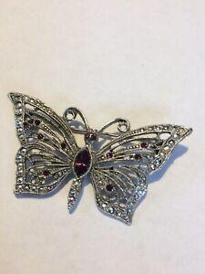 Vintage-LIA-Purple-Rhinestone-Butterfly-Pin-Brooch