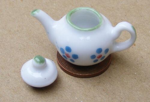 1:12 SCALA Bianco Teiera in ceramica con un motivo floreale tumdee casa delle bambole W104