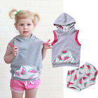 AU Watermelon Baby Kids Girls Boys Clothes Floral Hooded Tops Pants Outfit Set