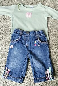 Baby-Girl-0-3-Months-Next-Jeans-amp-Green-Pink-Heart-Long-Sleeve-Top-Outfit-Bundle