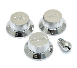 Chrome-Finish-Knob-Switch-Tip-Set-for-Fender-Stratocaster-Strat-PK-0178-010