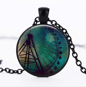 FERRIS WHEEL Black Glass Cabochon Necklace chain Pendant Wholesale