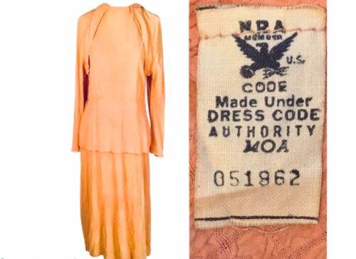 1930s Antique NRA Blue Eagle Peach Pink Crepe Dres