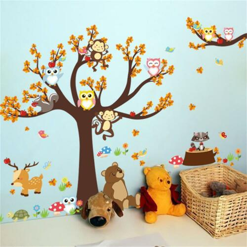 Cartoon Wall Stickers Animal Monkey Tree Forest Owl Baby Kid Room Decal Decor NE