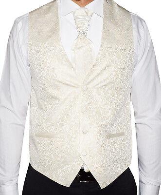 Men/'s Wedding Waistcoat Champagne Ivory 5 Teilig Designer Weste-Größe S-7XL