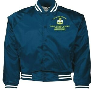 NAVAL SUPPORT ACTIVITY PHILADELPHIA PA NAVY EMBROIDERED 2-SIDED SATIN JACKET