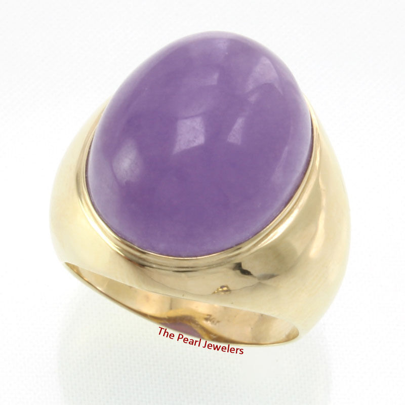 14k Solid Yellow gold 15mm by 18mm Cabochon Lavender Jade Ring 9.8 Grams TPJ
