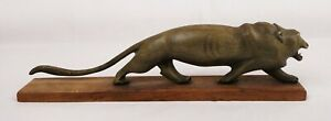 Rare Antique Chinese Wood Carved Lion Statue Carving Statue