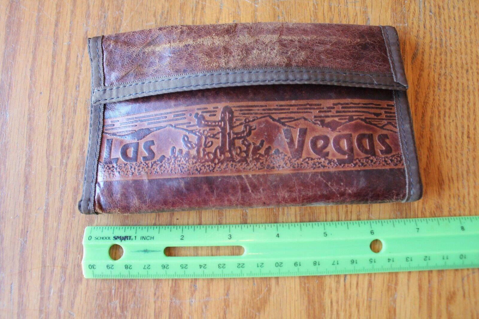 Las Vegas Leather hand made wallet cactus design vintage souvenir embossed