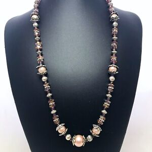 Vintage-Necklace-With-Iridescent-Purple-Glass-Silver-Plate-Champagne-Pearl-Beads