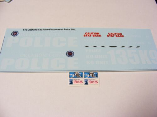 Oklahoma City Police 1//18 Water Slide Decals For 1//18 Scale Police SUV /& Cars