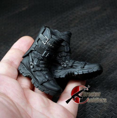 """1//6th Male Black Solid Boots Falcon Combat Shoes F 12/"""" Action Figure Model Toys"""