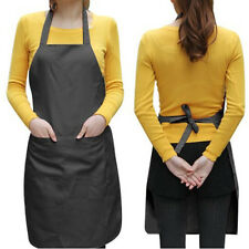 New Women Solid Cooking Kitchen Restaurant Bib Apron Dress with Pocket Gift US