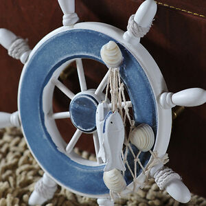Nautical beach wooden boat ship steering wheel fishing net for Anchor decoration for the home