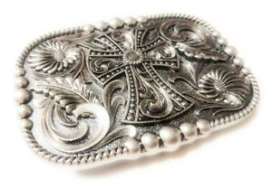 REC1-WESTERN-STEER-Cross-Cowboy-Rodeo-Style-Belt-Buckle-Buck-Silver-color