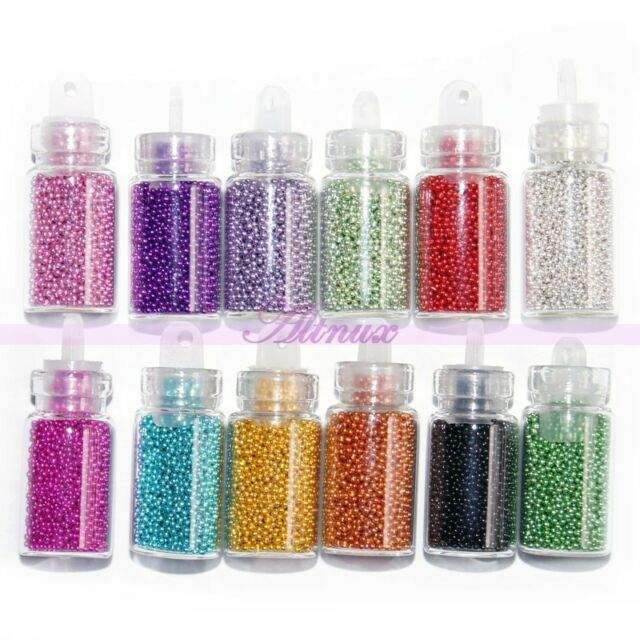 12 x Bottles Beads Caviar Balls Nail Art Rhinestone Manicure DIY Decoration
