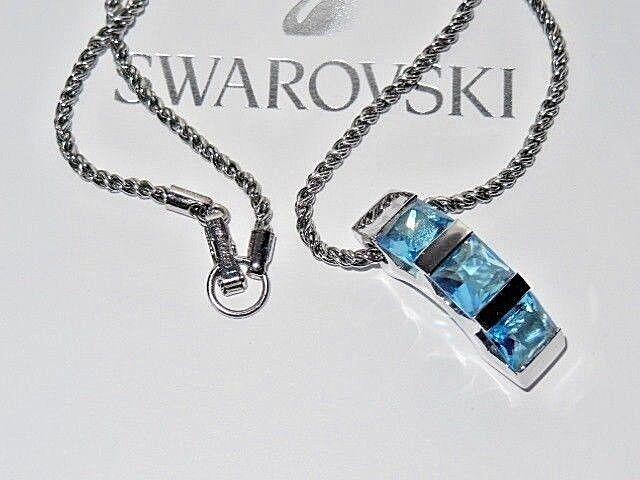 GENUINE Swan Signed SWAROVSKI Aquamarine Crystal Pendant