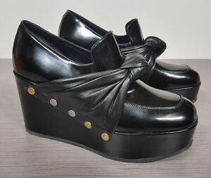 Celine-Phoebe-Phile-Black-Leather-Bow-Wedge-Platform-Shoe-Womens-Various-Sizes