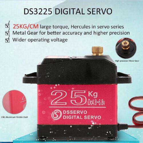 DS3225 25KG Metals Steering Gear Waterproof High Torque Digitals Servo FR RC Car