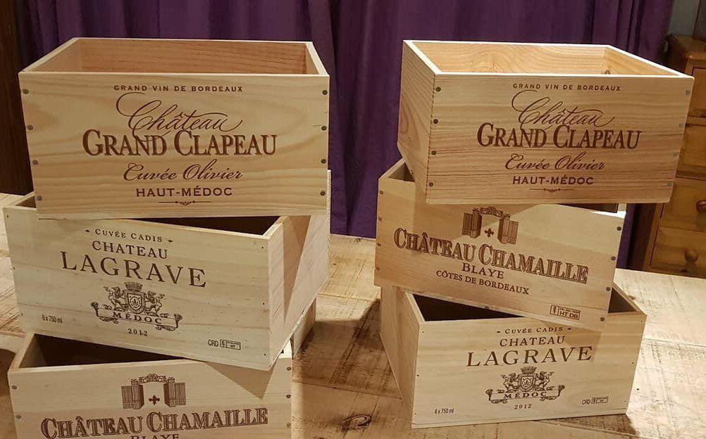4 X Francese Originale in Legno Cassa di Vino Cassetta Fioriera Per Bambini Cassetti Di Stoccaggio +