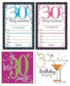Image Is Loading AGE 30 30th BIRTHDAY Party Invitations Amp Envelopes