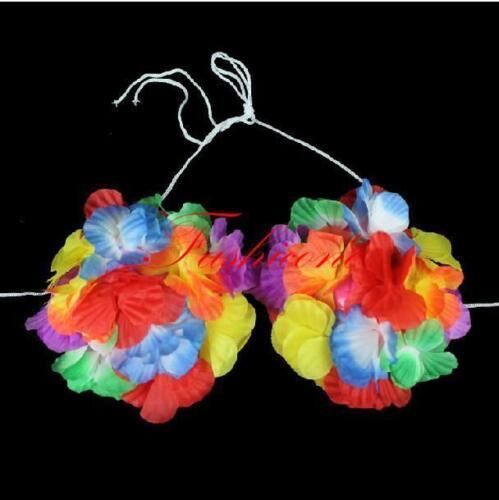 LUAU FLOWER BRA Tropical Luau Party Bikini Leis Top Hula #ST1 Free Shipping