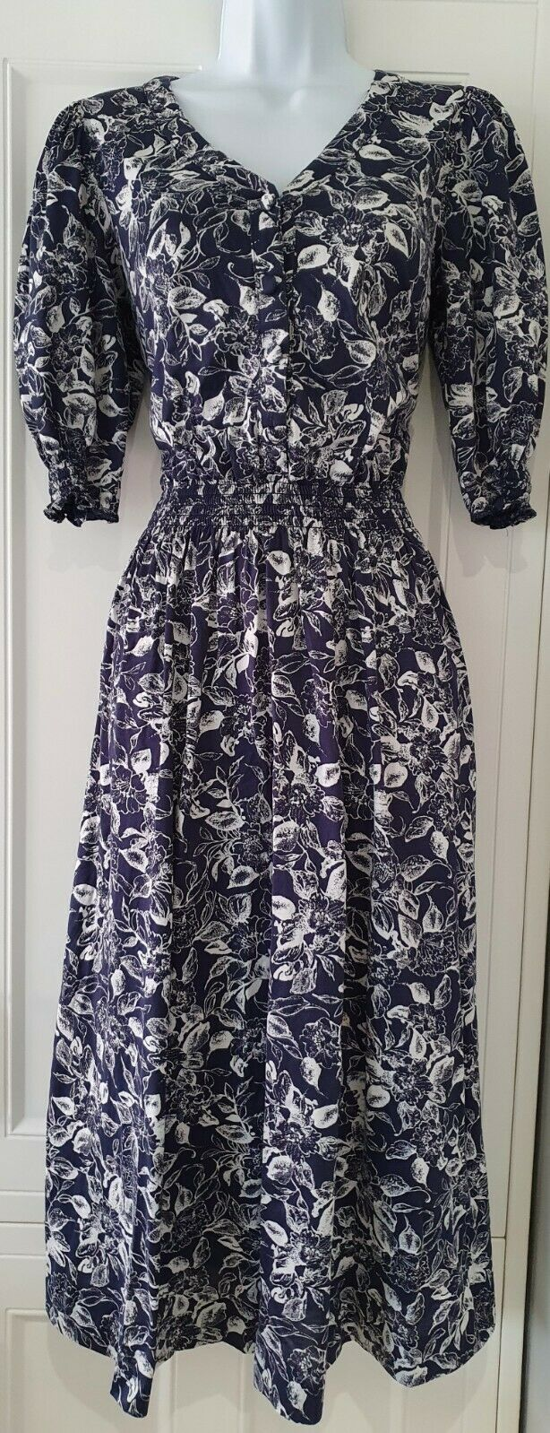 Womens Vintage Laura Ashley Blue White Floral Puff Sleeve Midi Tea Dress 10.