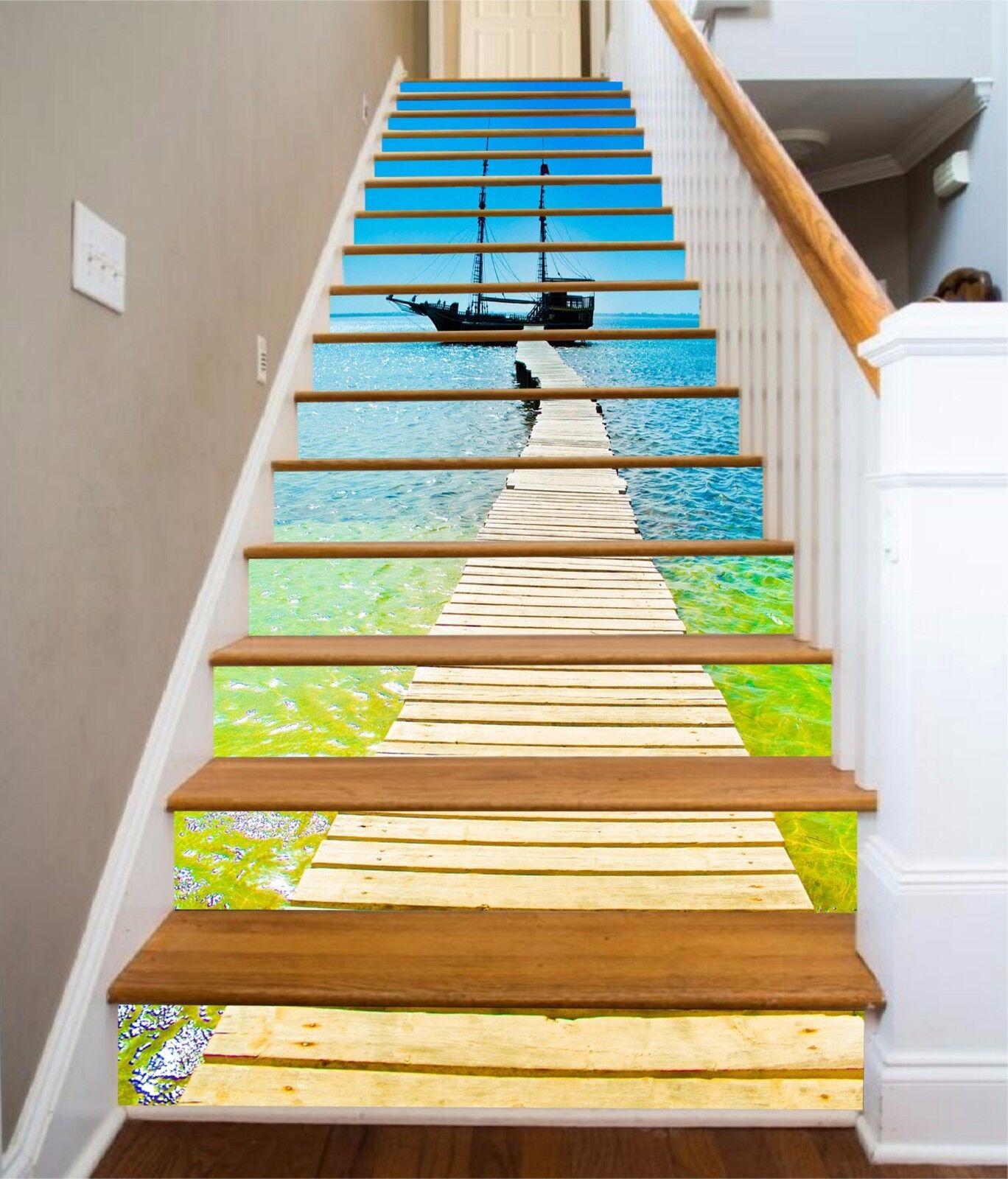 3D Sea Road 5  Stair Risers Decoration Photo Mural Vinyl Decal Wallpaper UK