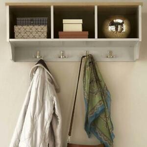 Coat Hook Wall Mounted Unit Cream 3 Open Shelves 4 Robe Hooks  Hallway Storage