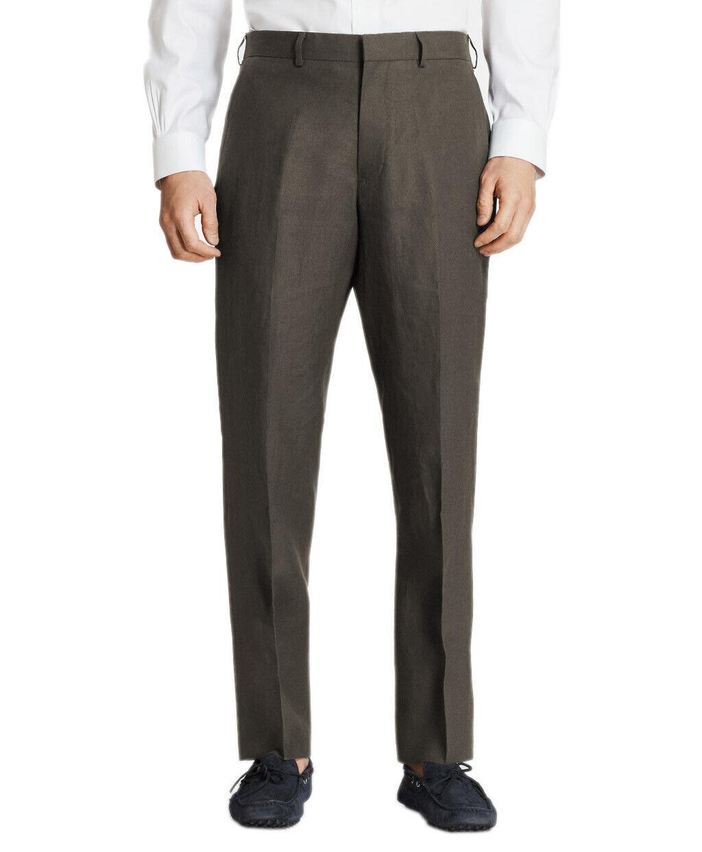 Brooks Bredhers Mens Taup Brown Regent Linen Flat Front Pants 38R Regular 8630-4