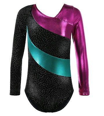 Gymnastics Leotard Girls Dance Costume  metallic long sleeve Shine black blue