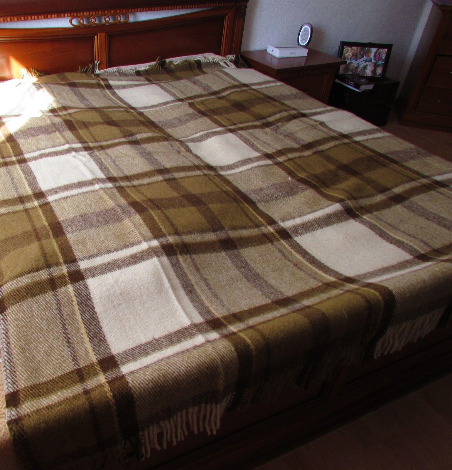 Wollplaid Bettüberwurfdecke Sofaüberwurf Wolldecke 220x260 cm, 100%Wolle