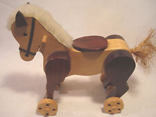 Vintage....Homemade....Maple..&..Walnut....Rolling..Horse...Pull...Toy