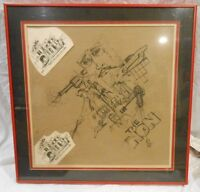 "original art ""The Love God in the NON"" comic type drawing, framed Jim Downs"
