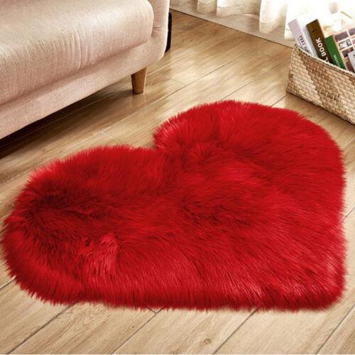 Heart Shaped Fluffy Rug Shaggy Floor Mat Fur Anti-Skid Room Bedroom Hairy Carpet