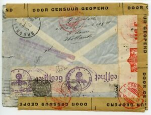 NETHERLANDS-1940-multiple-censored-airmail-cover-to-New-York-redir-Singapore