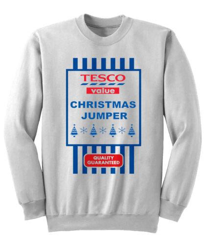 Mens womens Tesco Value Christmas fun Sweatshirt Sweater Xmas Jumper NEW S-XXL