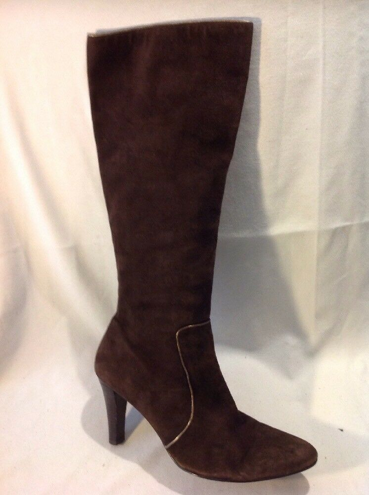 Enzo Disiena Brown Knee High Suede Boots Size 40