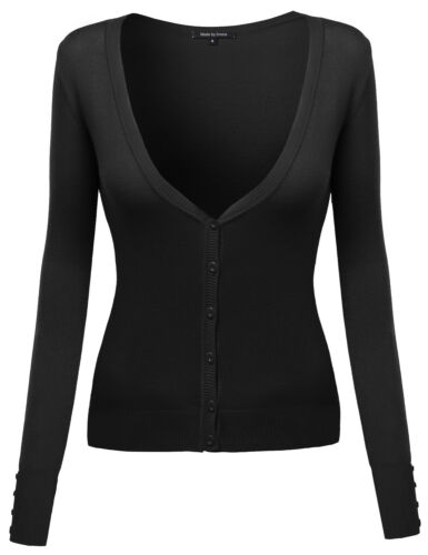 FashionOutfit Women/'s Solid Deep V-Neck Long Sleeves Button Closure Cardigan