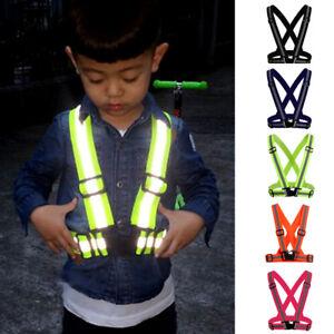 Hi-Vis-Vest-Safety-Kids-Adults-Security-Reflective-Straps-Belt-Night-Running-Use