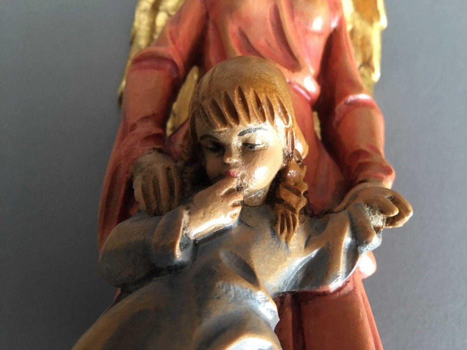 Holzskulptur Schutzengel Engel Engel Engel mit Mädchen Bemalt H. 26 cm   Günstigstes  84ae37