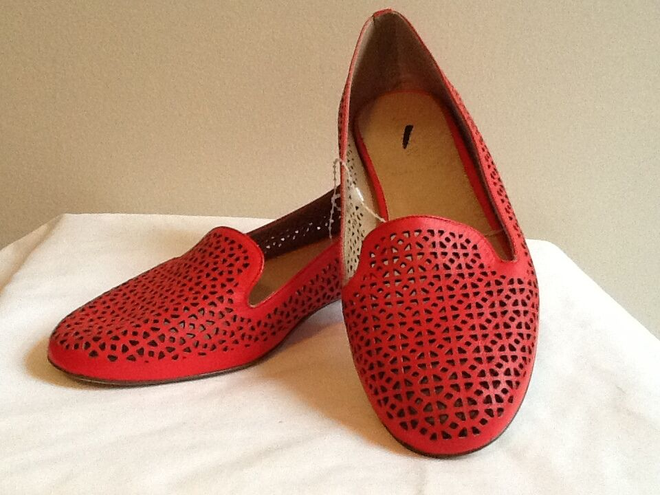 J CREW Cleo Perforated Loafers Size 6 Belvedere Red #a1238 $188