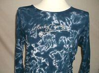 Harley-davidson Women's Large Blue Tie Dye Style 3/4 Sleeve Shirt