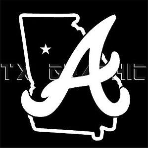 Decal For Atlanta Braves Georgia State Vinyl Sticker