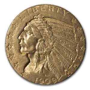 1909-D $5 Indian Gold Half Eagle AU - SKU#14650