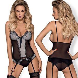 8c70f135cf4 Image is loading Womens-Lingerie-Basque-Corset-Thongs-Suspenders-Nightwear- Garters-