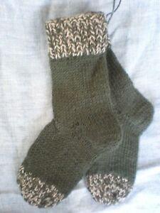 12-Hand-selbstgestrickte-Wollsocken-Gr-22-23-75-Schurwolle-Strumpfwolle