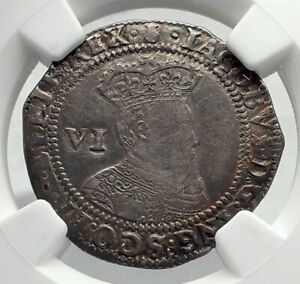 1603-GREAT-BRITAIN-UK-King-JAMES-I-of-KJV-Bible-Silver-Sixpence-Coin-NGC-i80401
