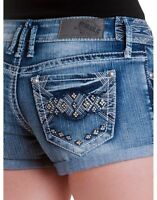 Hydraulic Juniors Lola Curvy Studded Destroyed Midi Denim Jean Shorts Size 3/4